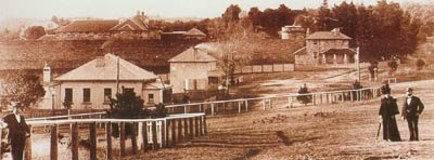 Berrima in 1912 - view shows Post Office, Surveyor General's Inn, Superintendent's House and the Gaol.